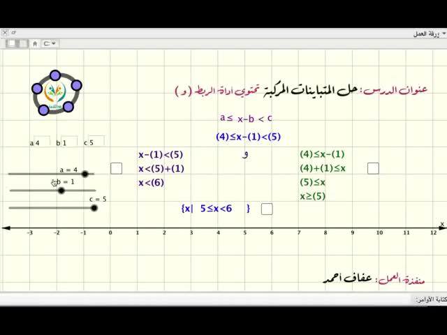 حل المتباينات المركبة تحتوي اداة الربط ( و )