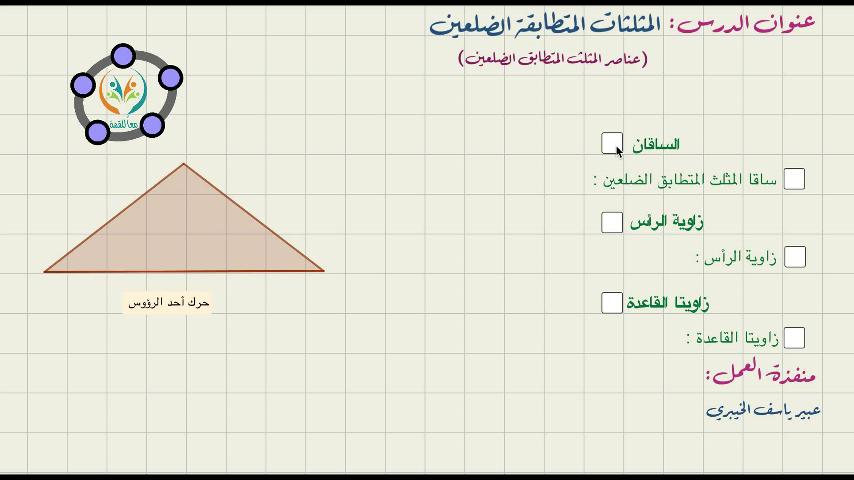 المثلثات المتطابقة الضلعين -عناصر المثلث المتطابق الضلعين