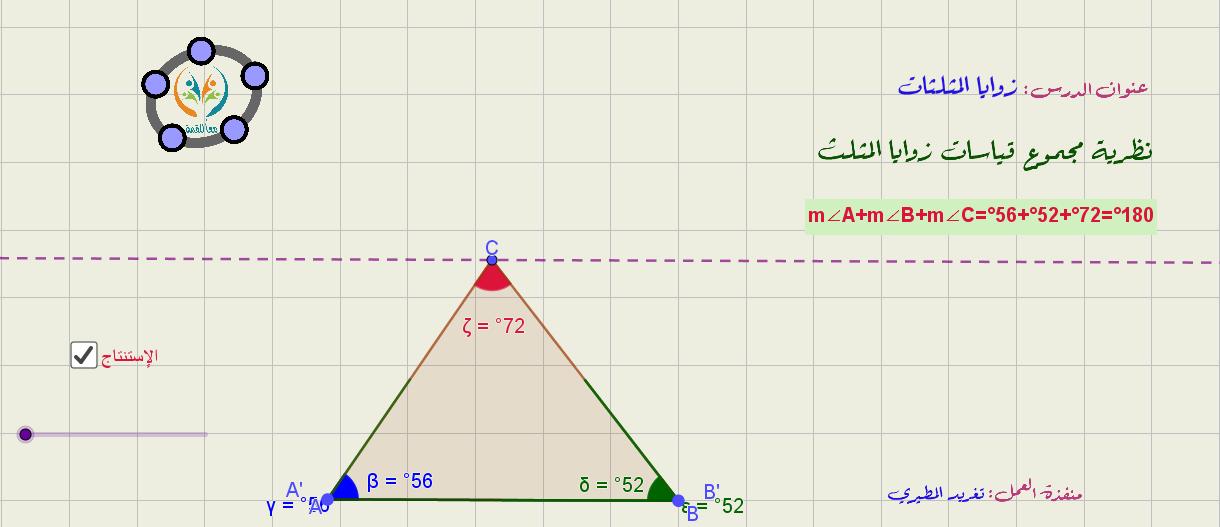 زوايا المثلثات -مفهوم مجموع زوايا المثلث
